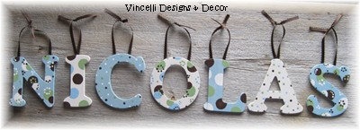 Wooden Letter Custom Wall Hangings - Blue & White