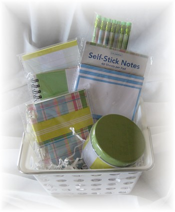 Preppy Paper Stationary Gift Basket-gift basket, stationary, paper, pencil,