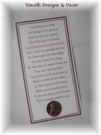 Angel Penny Poem - Quantity 4-penny, poem, gift, religious, angel