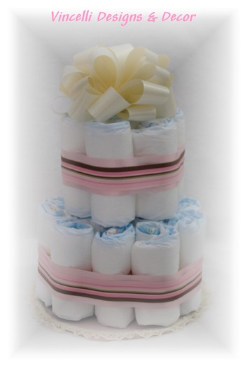Diaper Cake - 2 Tier - Pink/Cream