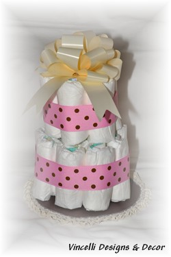Diaper Cake - 2 Tier - Pink w/ Brown Dots