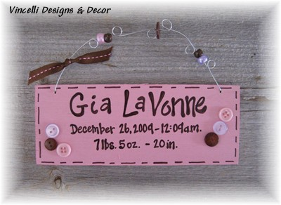 Baby Birth Info Plaque - Pink-handpainted, wood, plaque, baby shower, baby, name, birth,