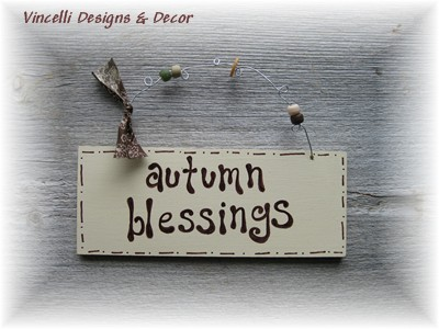 Handpainted Wood Plaque - Autumn Blessings-wood, sign, plaque, gift, handpainted, autumn,