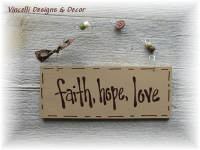Handpainted Wood Plaque - Faith, Hope, Love (Tan)-wood, sign, plaque, handpainted, wedding, love, faith, hope, gift,