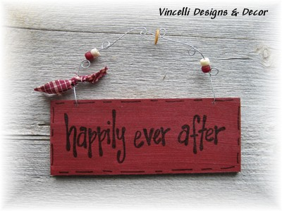 Handpainted Wood Plaque - Happily Ever After-sign, wood, plaque, handpainted, gift,