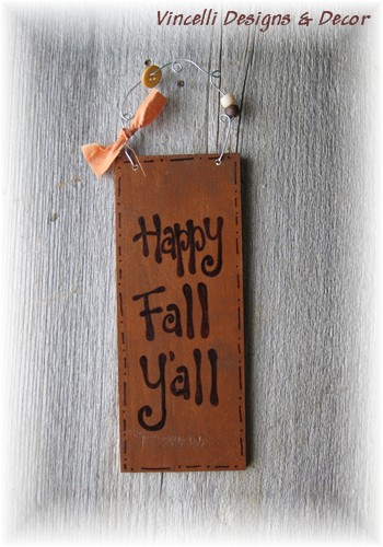 Handpainted Wood Plaque - Happy Fall Y'all