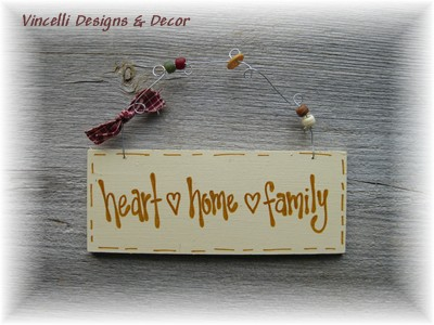 Handpainted Wood Plaque - Heart, Home, Family