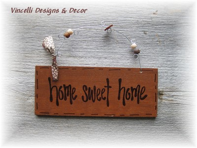 Handpainted Wood Plaque - Home Sweet Home