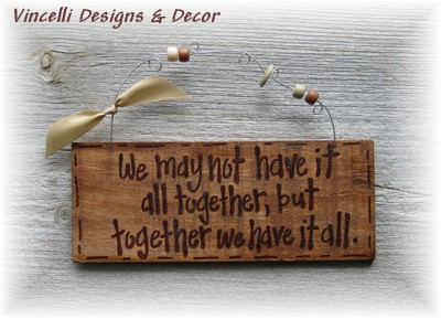 Handpainted Wood Plaque - All Together-wedding, love, handpainted, wood, sign, plaque, anniversary, gift,