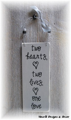 Handpainted Wood Plaque - Two Hearts