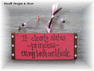 Handpainted Wood Plaque - Princess Birth Certificate