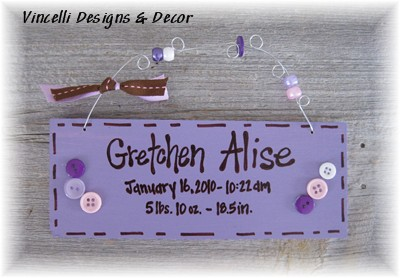 Baby Birth Info Plaque - Purple-baby, purple, girl, gift, baby shower, newborn,