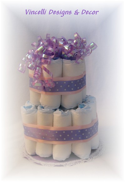 Diaper Cake - 2 Tier - Purple/Pink