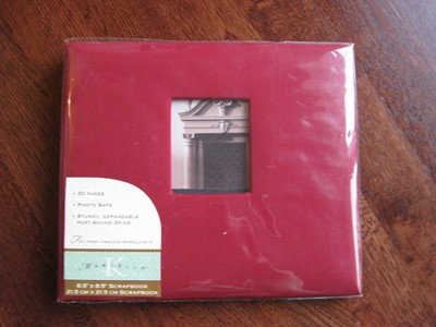 Scrapbook Dark Red Linen 8.5&quot; x 8.5&quot;-Scrapbook, dark Red Linen, 