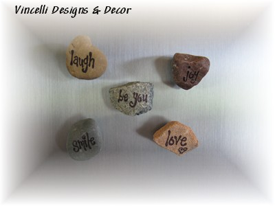 Rock Word Magnets - Fun Words - Set of 5-magnets, rocks,