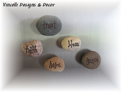 Rock Word Magnets - Religious - Set of 5-religious, rocks, magnets,