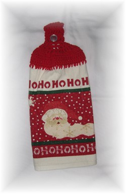 Crocheted Hand Towel - Santa Ho Ho Ho-hand towel, santa, christmas, towel, kitchen,