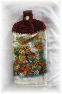 Crocheted Hand Towel - Fall Scarecrow Red-kitchen, towel, hand towel, scarecrow, autumn, fall, pumpkin, 