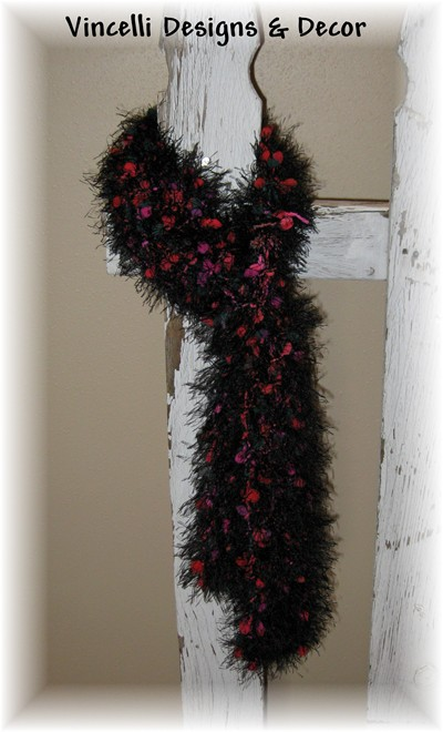 Fancy Fur Scarf - Black with Red/Pink/Green Puffs-scarf, knit, knitted, fancy fur, black