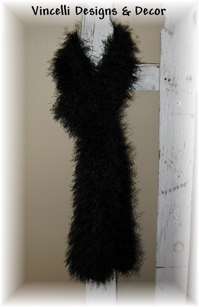 Black Eyelash Scarf-scarf, knit, knitted, black, eyelash,