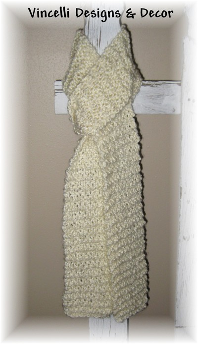 Homespun Cream Scarf-knit, scarf, cream, knitted, 