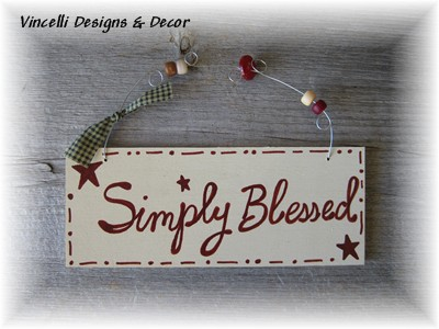 Handpainted Wood Plaque - Simply Blessed