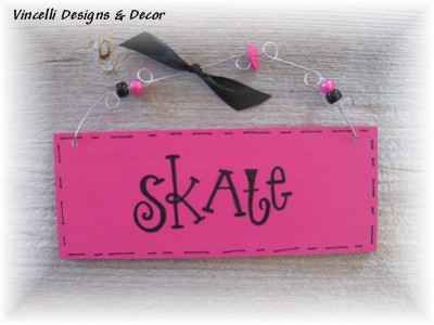 Handpainted Wood Plaque - Skate