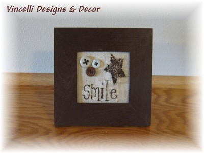Embroidered Art in Frame - Smile-embroidered, frame, gift, wooden, smile,