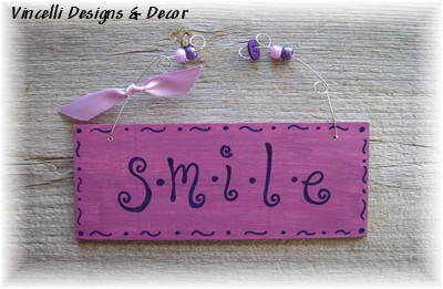 Handpainted Wood Plaque - Smile