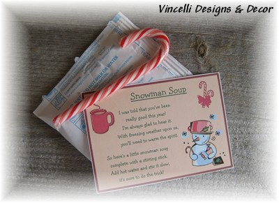 Snowman Soup - Set of 4-snowman soup, christmas, snowman, christmas stocking stuffer, hot chocolate, candy cane,