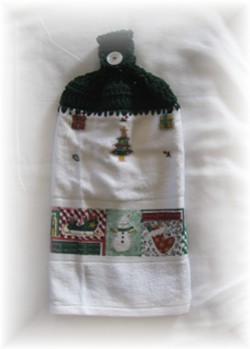 Crocheted Hand Towel - Christmas-hand towel, towel, Christmas, snowman, winter, snow,