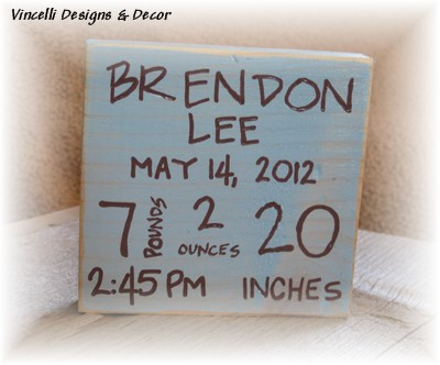 Baby Birth Info Plaques SQUARE