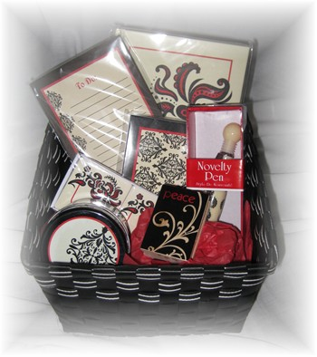 Black/Red Stationary Basket-gift basket, stationary,