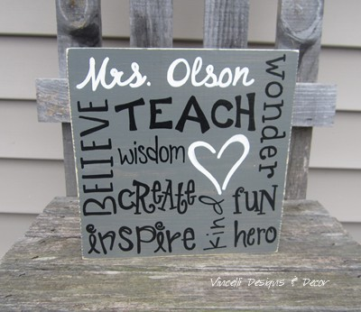 Wood Plaque - Teacher Word Collage - Gray