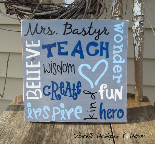 Wood Plaque - Teacher Word Collage - Blue