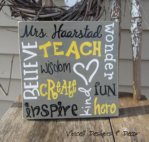 Wood Plaque - Teacher Word Collage - Gray with Yellow