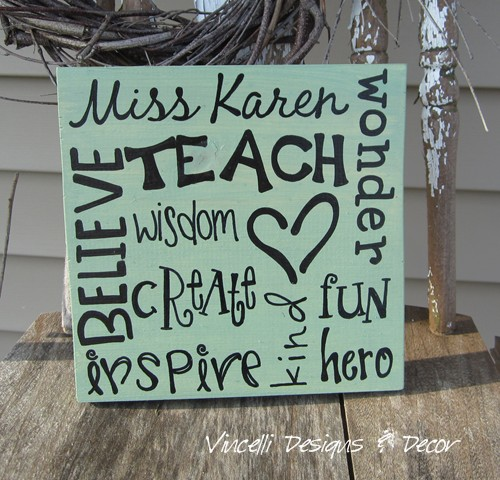 Wood Plaque - Teacher Word Collage - One Color - You Choose!