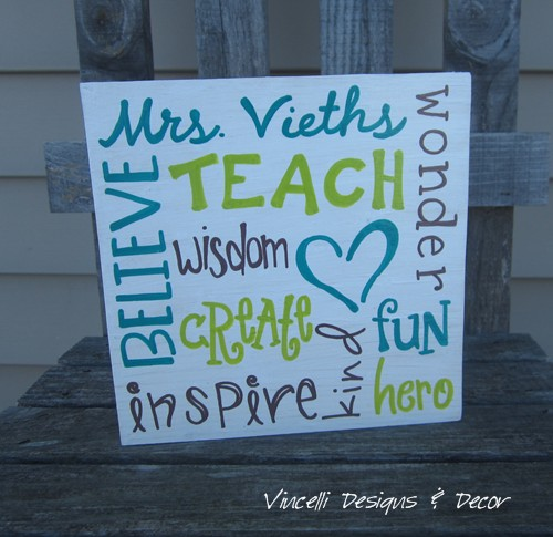 Wood Plaque - Teacher Word Collage - White