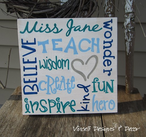 Wood Plaque - Teacher Word Collage - White & Blues