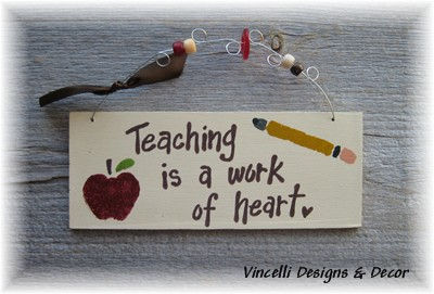Handpainted Wood Plaque - Teaching is a Work of Heart-handpainted, wood, plaque, teacher, teaching, heart, apple,