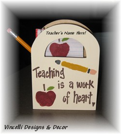 Wooden Gift Bag - Teaching is a Work of Heart-handpainted, gift, teacher, heart,