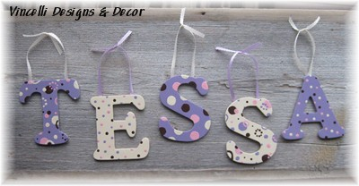 Wooden Letter Custom Wall Hangings - Purple & Cream