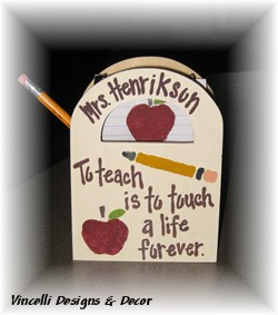 Wooden Gift Bag - To teach is to touch a life forever.-wood, handpainted, gift, teacher,
