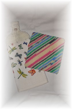 Crocheted Matching Hand Towel & Potholder - Butterflies-hand towel, towel, potholder, kitchen, crochet,
