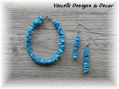 Turquoise (Bright) Bracelet And Earrings
