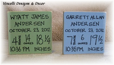 Baby Birth Info Plaques SQUARE for Twins-twins, baby, birth info, plaque, wood, handpainted,