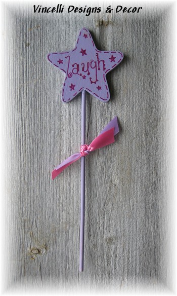 Child's Wooden Wand - &quot;Laugh&quot;-wand, wooden, gift, child, girl,