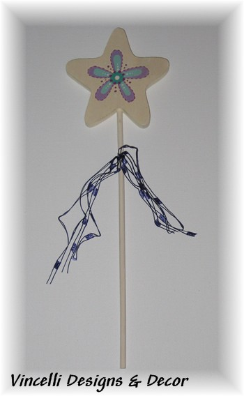 Child's Wooden Wand - Flower-child, wand, girl, gift, star