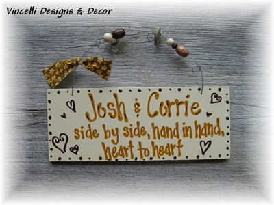 Handpainted Wood Plaque - Happy Couple-sign, wood, plaque, handpainted, gift, wedding, love, couple, anniversary,