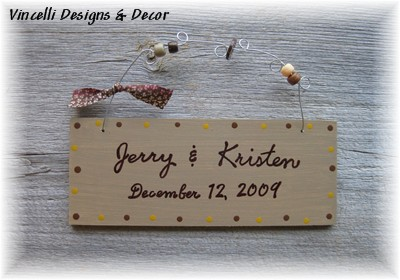 Handpainted Wood Plaque - Wedding-handpainted, wood, plaque, wedding, gift, anniversary, 